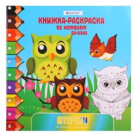 Раскраска-книжка по номерам 20,5*20,5 см. Птички DV-9399