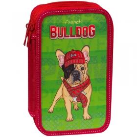 """Пенал 3 отделения, 190*110 ArtSpace """"Bulldog"""", ламинированный картон, когрев, блестки 61П25_3_23123"""