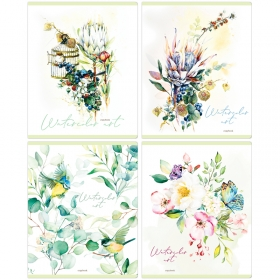 """Тетрадь 96л., А5, клетка ArtSpace """"Цветы. Watercolor flowery"""", матовая ламинация Т96кМЛ_36430"""
