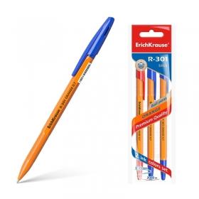 Ручка шариковая ErichKrause® R-301 Orange Stick 0.7, цвет чернил: синий, синий, красный (3 шт)