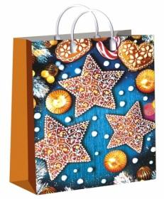 Пакет пластиковый Пряничные звезды 30х40/150, лам. ПИ-4137
