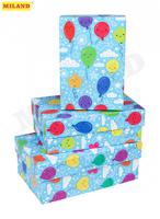 Наборы прямоугольных коробок 3 в 1 Шарики (19 х 12 х 7,5 - 15 х 10 х 5 см)  ПП-3652