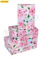 Наборы прямоугольных коробок 3 в 1 Сакура ( 19 х 12 х 7,5 - 15 х 10 х 5 см)  ПП-3628