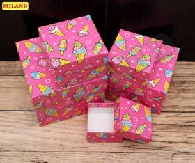 """Набор квадратных  коробок 5 в 1 """"Мороженое"""" (12*12*9 - 6*6*3 см) ПП-2925"""