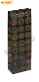 Пакет подарочный Ретро пластинки под бутылку 12 шт  П001-0021