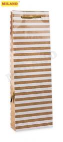 Пакет подарочный с глянцевой ламинацией  12x36x8,5 см (Bottle) Полосы, 157 г ПП-4674