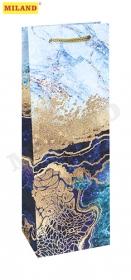Пакет подарочный с матовой ламинацией 12x36x8,5 см  (Bottle) Мраморный узор , 157 г ППД-9804
