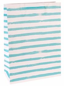 Пакет подарочный с матовой  ламинацией 22x31x10  см (ML) Голубые полосы, 128 г ППД-0100