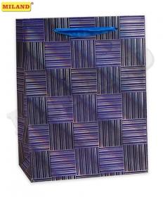Пакет с мат.лам.Голографический эффект 31х42х12 см(XL) Фиолетовая абстакция 210г ПП-4187