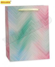 Пакет подарочный с мат. лам. и глиттером 31х42х12см(XL) Разноцветные полосы,210г ПП-4179