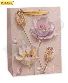 Пакет подарочный с мат. лам. и глиттером 31х42х12 см (XL) Утонченные цветы, 210г ПП-4190