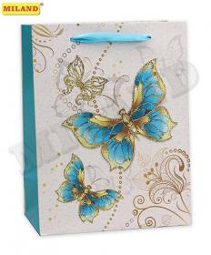 Пакет подарочный с мат. лам. и глиттером 31х42х12 см (XL) Сказочные бабочки,210г ПП-4207