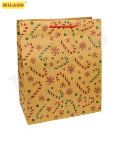 Пакет подарочный из крафт-бумаги 26,4х32,7х13,6 см (craft L) Рождественский леденец, 150 г ПКП-8898