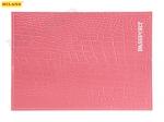 """Обложка для паспорта из натуральной кожи КРОКОДИЛ, розовый, тисн.серебро""""PASSPORT"""" ОП-5435"""