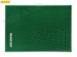 """Обложка для паспорта из натуральной кожи КРОКОДИЛ, зеленый, тисн.серебро""""PASSPORT"""" ОП-5432"""