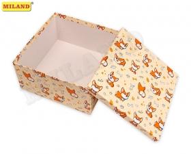 """Одинарная квадратная коробка """"Корги"""" 25,5 Х 25,5 Х 13 см ПП-2221"""