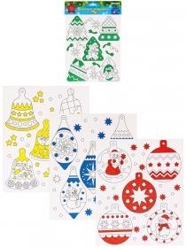 Новогодний набор ЁЛОЧНЫЕ ИГРУШКИ-1 (04-0442),4л, мелов.картон, 4+1, глиттер, европодвес, 210х250