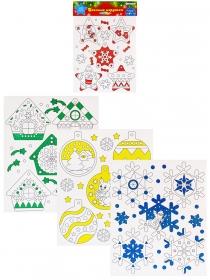 Новогодний набор ЁЛОЧНЫЕ ИГРУШКИ-2 (04-0443),4л, мелов.картон, 4+1, глиттер, европодвес, 210х250