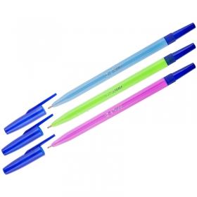 """Ручка шариковая синяя """"049"""", 1мм, СТАММ флуоресцентный корпус РШ01"""