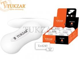Ластик белый с пластиковым держателем, форма восьмёрки, 5 см TZ 6243