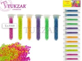 Бисер для декоративных работ в пластиковых тубах, 12 цветов НЕОН TZ 5509 Цена за 12шт