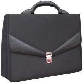"""Портфель OfficeSpace """"Turin"""" ткань, черный, 2 отделения, метал. замок По_ТК_679"""