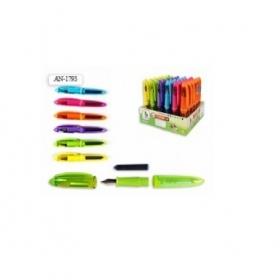 Перьевая ручка на подставке, цвет чернил - СИНИЙ, цветной корпус , корп 10,5см AN 1793 (S 203)