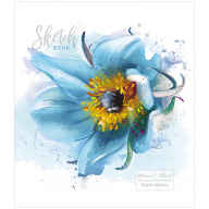 "Скетчбук-блокнот 30л А5 на гребне ПЗБМ ""Голубой цветок"", 120/м2, УФ-лак, ТВИН-лак, 98696"