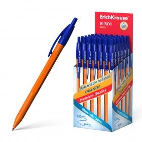Ручка шариковая автоматическая ErichKrause® R-301 Orange Matic 0.7, цвет чернил синий (в коробке по