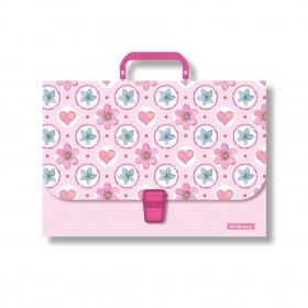 Портфель пластиковый ErichKrause® Pink Flowers, A4 (в пакете по  1шт.) 48734