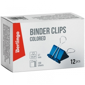 Зажимы для бумаг 41мм, 12шт., цветные, Berlingo карт.кор. BC1241f (цена за 12 шт - 1 уп.)