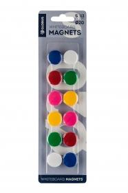 Набор магнитов 20 мм, 12 шт. цветные МЦ20-12 МЦ20-12