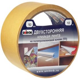 Клейкая лента двусторонняя Unibob, 50мм*25м, полипропилен, инд. упаковка 28212