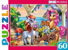 Artpuzzle. ПАЗЛЫ 60 элементов. Пони и цветы. Арт. ПА-0583