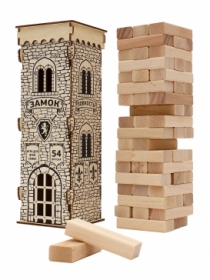 """Деревянная игрушка. Игра """"Башня. Замок """" (28,5 см)в деревянной коробке. Конструктор 54 эл. К-3865"""