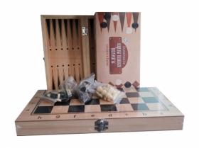 Игра 3 в 1 дерево (нарды, шашки, шахматы) (29х14.5х3 см) фигуры-дерево в коробке (Арт. AN02593)
