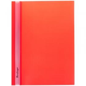 Папка-скоросшиватель пластик. Berlingo, А4, 180мкм, красная с прозр. верхом ASp_04103