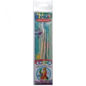 Набор   кистей (синтетика №1,5,8) (НК-2533) 3 шт., деревянная ручка, в пластик. блистере, крат12