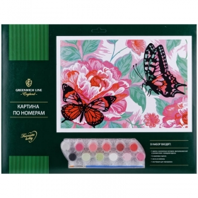 "Картина по номерам Greenwich Line ""Кот и бабочка"" A3, с акриловыми красками, картон, КК_27775"
