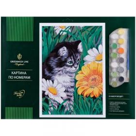 """Картина по номерам Greenwich Line """"Котик в цветах"""" A3, с акриловыми красками, картон, КК_27761"""