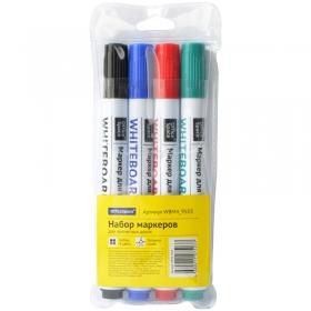 Набор маркеров для белых досок OfficeSpace 4цв., пулевидный, 2,5мм, чехол с европодвесом WBM4_9503