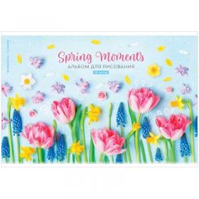 """Альбом для рисования 16л., А4, на скрепке ArtSpace """"Цветы. Spring moments"""" А16_35984"""