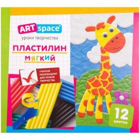 Пластилин ArtSpace, 12 цветов, 144гр, со стеком, картон PL12_16713