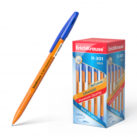 "Ручка шариковая Erich Krause ""R-301 Orange"" синяя, 0,7мм, штрихкод 43194"