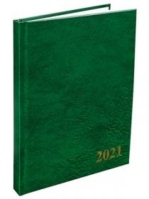 Ежедневник А5, 168л. датированный 2021, ляссе ЗЕЛЁНЫЙ (168-1527) бумвинил