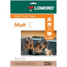 Фотобумага А4 для стр. принтеров Lomond, 230г/м2 (25л) мат.одн. 0102050