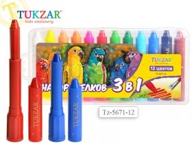 """Набор мелков """"3 в 1"""": пастель, акварель, пальчиковые краски. Выкручивающийся стержень, пластиковый к"""