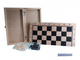 Шахматы деревянные (24х12х3 см), фигуры пластик, в коробке (Арт. AN02583)
