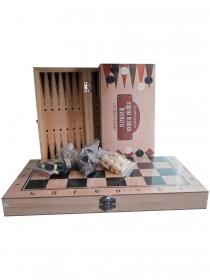 Игра 3 в 1 дерево (нарды, шашки, шахматы) (34х17х3.5 см) шах.фиг.- пластик, шашки-дер (Арт. AN02591)