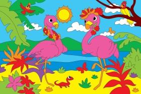 Холст с красками 20х30 см. Два красивых фламинго (Арт. Х-9414)